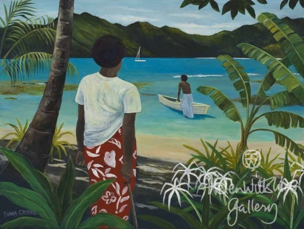 Waya Island Figure & Lillies by Diana Crooke
